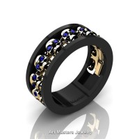 Mens Modern 14K Black and Yellow Gold Blue Sapphire Skull Channel Cluster Wedding Ring R913-14KBYGBS