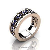 Mens Modern 14K Rose Gold Blue Sapphire Skull Channel Cluster Wedding Ring R913-14KRGBS