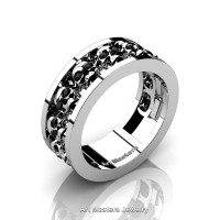 Mens Modern 14K White Gold Black Sapphire Skull Channel Cluster Wedding Ring R913-14KWGBLS