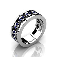 Mens Modern 14K White Gold Blue Sapphire Skull Channel Cluster Wedding Ring R913-14KWGBS