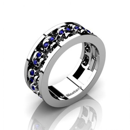 Mens-Modern-14K-White-Gold-Blue-Sapphire-Skull-Cluster-Wedding-Ring-Ring-R913-14KWGBS-P3