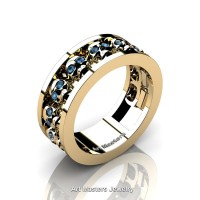 Mens Modern 14K Yellow Gold Blue Topaz Skull Channel Cluster Wedding Ring R913-14KYGBT
