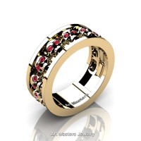 Mens Modern 14K Yellow Gold Ruby Skull Channel Cluster Wedding Ring R913-14KYGR