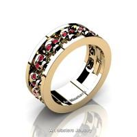 Mens Modern 14K Yellow Gold Ruby Skull Channel Cluster Wedding Ring R913-14KYGR