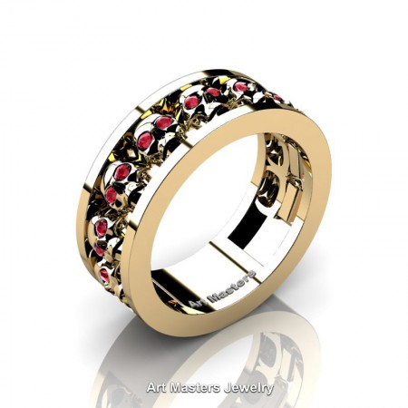 Mens-Modern-14K-Yellow-Gold-Ruby-Skull-Cluster-Wedding-Ring-Ring-R913-14KYGR-P