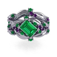 Nature Inspired 14K White Gold 1.0 Ct Emerald Cut Emerald Amethyst Leaf and Vine Engagement Ring Wedding Band Set R350S2-14KWGAMEM