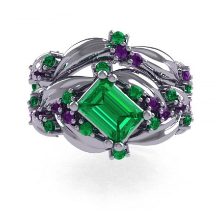 Nature-Inspired-14K-White-Gold-1-0-Ct-Emerald-Cut-Emerald-Amethyst-Leaf-and-Vine-Engagement-Ring-Wedding-Band-Set-R350S2-14KWGAMEM-T