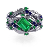 Nature Inspired 14K White Gold 1.0 Ct Emerald Cut Emerald Blue Sapphire Leaf and Vine Engagement Ring Wedding Band Set R350S2-14KWGBSEM