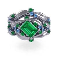 Nature Inspired 14K White Gold 1.0 Ct Emerald Cut Emerald Blue Topaz Leaf and Vine Engagement Ring Wedding Band Set R350S2-14KWGBTEM