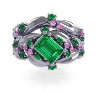 Nature Inspired 14K White Gold 1.0 Ct Emerald Cut Emerald Light Pink Sapphire Leaf and Vine Engagement Ring Wedding Band Set R350S2-14KWGLPSEM