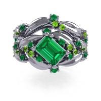 Nature Inspired 14K White Gold 1.0 Ct Emerald Cut Emerald Peridot Leaf and Vine Engagement Ring Wedding Band Set R350S2-14KWGPEM