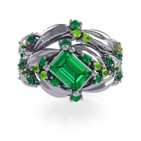 Nature-Inspired-14K-White-Gold-1-0-Ct-Emerald-Cut-Emerald-Peridot-Leaf-and-Vine-Engagement-Ring-Wedding-Band-Set-R350S2-14KWGPEM-T
