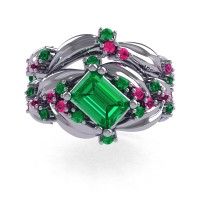 Nature Inspired 14K White Gold 1.0 Ct Emerald Cut Emerald Pink Sapphire Leaf and Vine Engagement Ring Wedding Band Set R350S2-14KWGPSEM
