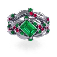 Nature Inspired 14K White Gold 1.0 Ct Emerald Cut Emerald Ruby Leaf and Vine Engagement Ring Wedding Band Set R350S2-14KWGREM