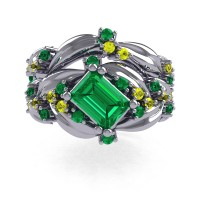 Nature Inspired 14K White Gold 1.0 Ct Emerald Cut Emerald Yellow Sapphire Leaf and Vine Engagement Ring Wedding Band Set R350S2-14KWGYSEM