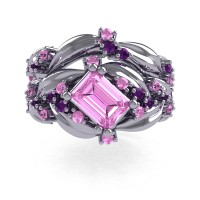 Nature Inspired 14K White Gold 1.0 Ct Emerald Cut Light Pink Sapphire Amethyst Leaf and Vine Engagement Ring Wedding Band Set R350S2-14KWGAMLPS