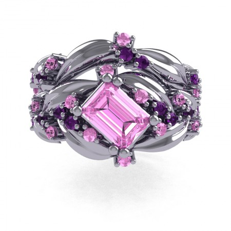 Nature-Inspired-14K-White-Gold-1-0-Ct-Emerald-Cut-Light-Pink-Sapphire-Amethyst-Leaf-and-Vine-Engagement-Ring-Wedding-Band-Set-R350S2-14KWGAMLPS-T