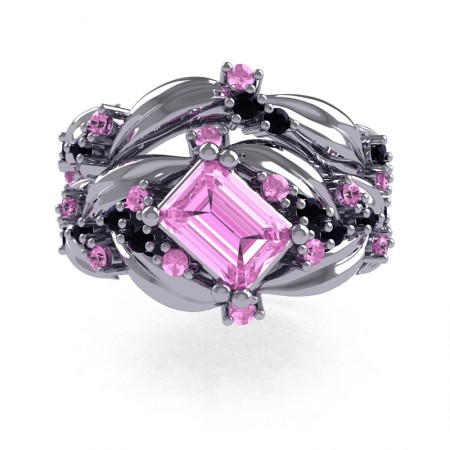 Nature-Inspired-14K-White-Gold-1-0-Ct-Emerald-Cut-Light-Pink-Sapphire-Black-Diamond-Leaf-and-Vine-Engagement-Ring-Wedding-Band-Set-R350S2-14KWGBDLPS-T
