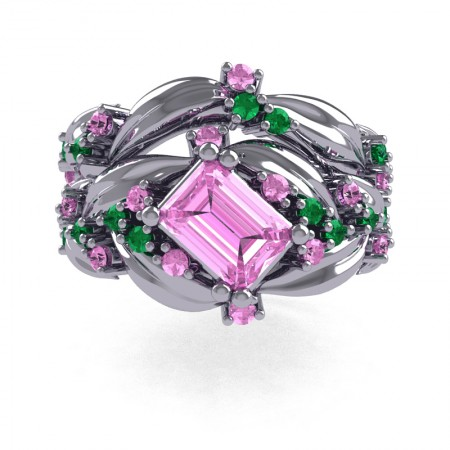 Nature-Inspired-14K-White-Gold-1-0-Ct-Emerald-Cut-Light-Pink-Sapphire-Emerald-Leaf-and-Vine-Engagement-Ring-Wedding-Band-Set-R350S2-14KWGEMLPS-T