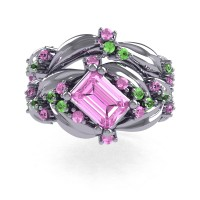 Nature Inspired 14K White Gold 1.0 Ct Emerald Cut Light Pink Sapphire Green Topaz Leaf and Vine Engagement Ring Wedding Band Set R350S2-14KWGGTLPS