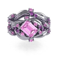 Nature Inspired 14K White Gold 1.0 Ct Emerald Cut Light Pink Sapphire Lilac Amethyst Leaf and Vine Engagement Ring Wedding Band Set R350S2-14KWGLAMLPS