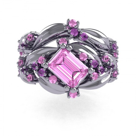 Nature-Inspired-14K-White-Gold-1-0-Ct-Emerald-Cut-Light-Pink-Sapphire-Lilac-Amethyst-Leaf-and-Vine-Engagement-Ring-Wedding-Band-Set-R350S2-14KWGLAMLPS-T