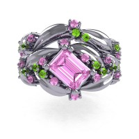Nature Inspired 14K White Gold 1.0 Ct Emerald Cut Light Pink Sapphire Peridot Leaf and Vine Engagement Ring Wedding Band Set R350S2-14KWGPLPS
