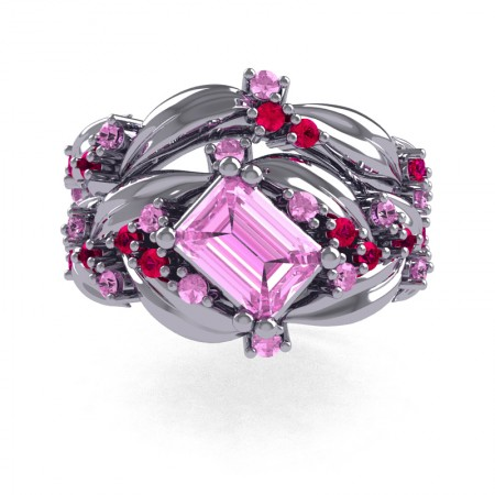 Nature-Inspired-14K-White-Gold-1-0-Ct-Emerald-Cut-Light-Pink-Sapphire-Ruby-Leaf-and-Vine-Engagement-Ring-Wedding-Band-Set-R350S2-14KWGRLPS-T