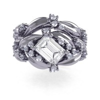 Nature Inspired 14K White Gold 1.0 Ct Emerald Cut White Sapphire Leaf and Vine Engagement Ring Wedding Band Set R350S2-14KWGWS