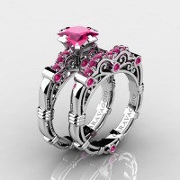 Art Masters Caravaggio 14K White Gold 1.25 Ct Princess Pink Sapphire Engagement Ring Wedding Band Set R623PS-14KWGPS