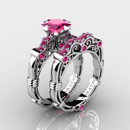 Art-Masters-Caravaggio-14K-White-Gold-1-25-Carat-Princess-Pink-Sapphire-Engagement-Ring-Wedding-Band-Set-R623PS-14KWGPS-P1