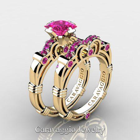 Art-Masters-Caravaggio-14K-Yellow-Gold-1-25-Carat-Princess-Pink-Sapphire-Engagement-Ring-Wedding-Band-Set-R623PS-14KYGPS-P