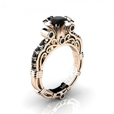 Art Masters Michelangelo 14K Rose Gold 1.0 Ct Black Diamond Engagement Ring R723-14KRGBD