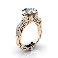 Art Masters Michelangelo 14K Rose Gold 1.0 Ct White Sapphire Diamond Engagement Ring R723-14KRGDWS