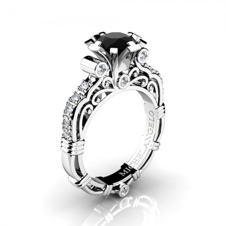 Art Masters Michelangelo 14K White Gold 1.0 Ct Black and White Diamond Engagement Ring R723-14KWGDBD