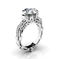 Art Masters Michelangelo 14K White Gold 1.0 Ct White Sapphire Diamond Engagement Ring R723-14KWGDWS