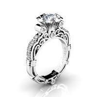 Art Masters Michelangelo 14K White Gold 1.0 Ct White Sapphire Diamond Engagement Ring R723-14KWGDWS