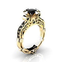 Art Masters Michelangelo 14K Yellow Gold 1.0 Ct Black Diamond Engagement Ring R723-14KYGBD