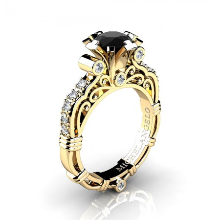 Art Masters Michelangelo 14K White Gold 1.0 Ct Black and White Diamond Engagement Ring R723-14KWGDBD