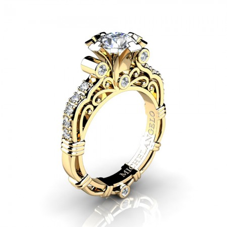 Art Masters Michelangelo 14K Yellow Gold 1.0 Ct White Sapphire Diamond Engagement Ring R723-14KYGDWS