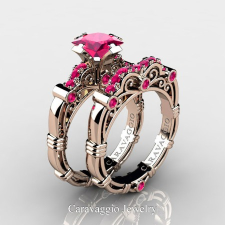 Caravaggio-14K-Rose-Gold-1-25-Carat-Princess-Pink-Sapphire-Engagement-Ring-Wedding-Band-Set-R623PS-14KRGPS-P