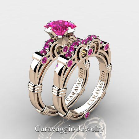Caravaggio-14K-Rose-Gold-1-25-Carat-Princess-Pink-Sapphire-Engagement-Ring-Wedding-Band-Set-R623PS-14KRGPS-P