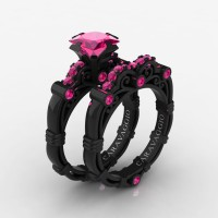 Art Masters Caravaggio 14K Black Gold 1.25 Ct Princess Pink Sapphire Engagement Ring Wedding Band Set R623PS-14KBGPS