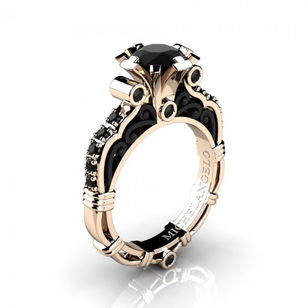 Art Masters Michelangelo 14K Two Tone Rose Gold 1.0 Ct Black Diamond Engagement Ring R723-14KRBGBD