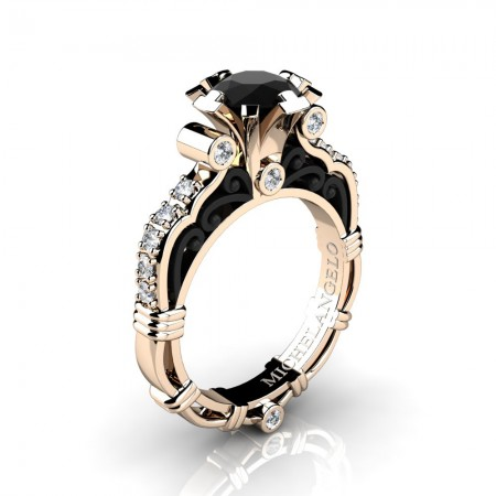 Art Masters Michelangelo 14K Two Tone Rose Gold 1.0 Ct Black and White Diamond Engagement Ring R723-14KRBGDBD