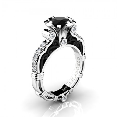Art Masters Michelangelo 14K Two Tone White Gold 1.0 Ct Black and White Diamond Engagement Ring R723-14KWBGDBD