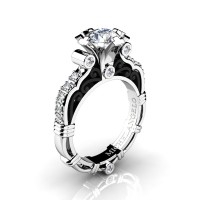 Art Masters Michelangelo 14K Two Tone White Gold 1.0 Ct White Sapphire Diamond Engagement Ring R723-14KWBGDWS