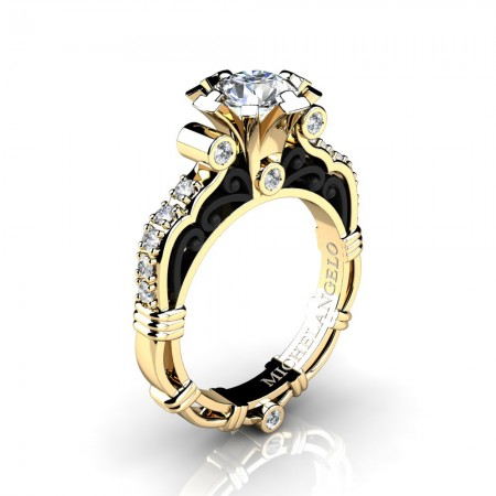 Art Masters Michelangelo 14K Two Tone Yellow Gold 1.0 Ct White Sapphire Diamond Engagement Ring R723-14KYBGDWS