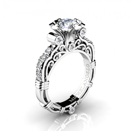 Art Masters Michelangelo 14K White Gold 1.0 Ct Certified Diamond Engagement Ring R723-14KWGCVSD