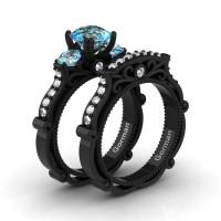 Italian 14K Black Gold 1.5 Ct Blue Topaz Diamond Three Stone Engagement Ring Wedding Band Set G1108S-14KBGDBT